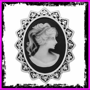 🆕 Vintage Lady Oval Wax Sterling Silver Snap Pin